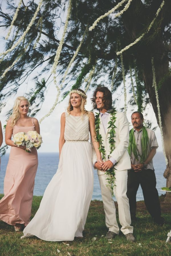 This perfect wedding. Model Tori Praver + Surfer Danny Fuller's Bohemian Kauai Wedding