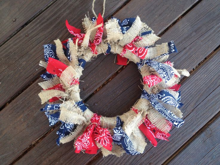 Cute for 4th of July Red & Blue (possibly white) bandanna & burlap.