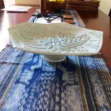 Yvonne Kitchener Studio Potter Decorative serving platter - green leaves, on its own stand. $70.