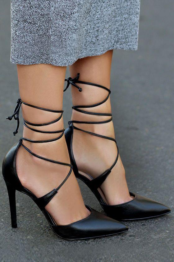 Steve Madden Raela Black Leather Pointed Lace-Up Heels