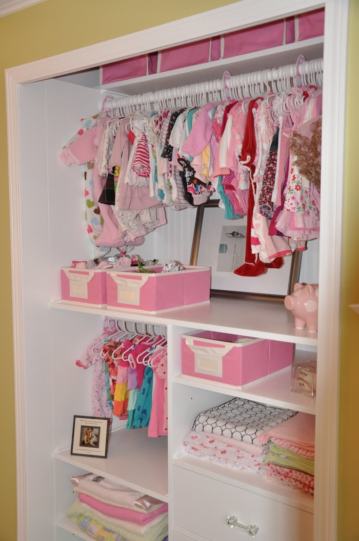 Organized baby closet build the shelves to reach front of for Baby organizer ideas