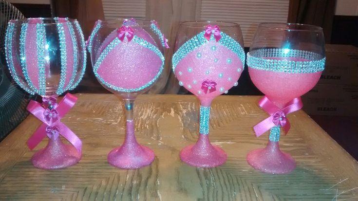 DIY glitter wine glasses with rhinestone accent