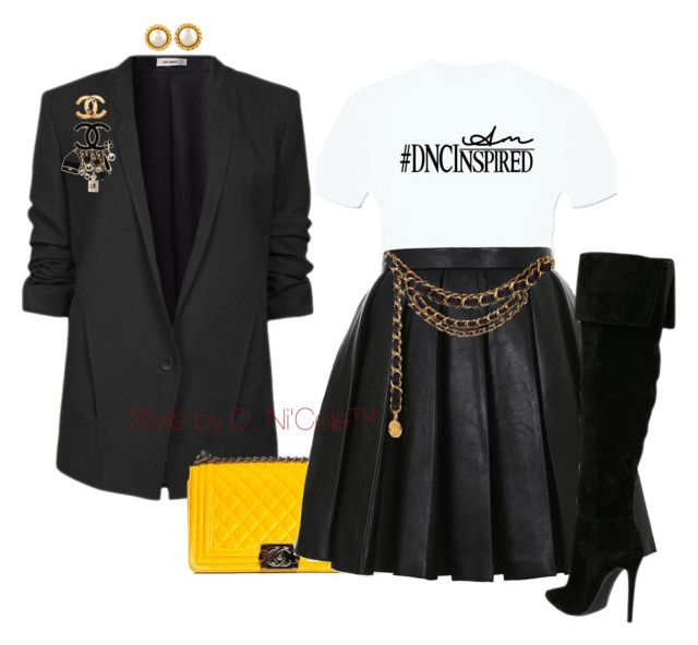 """""""Untitled #3016"""" by stylebydnicole ❤ liked on Polyvore featuring Helmut Lang, Chanel and Balmain"""