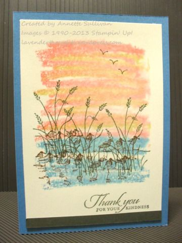 Stampin' Up! Acrylic Block technique with Wetlands Marina Thank You