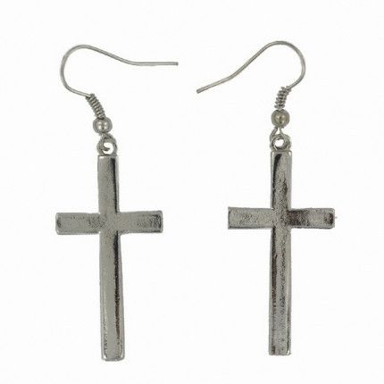 Silver Tone Cross Earrings. Classic silver tone cross drop earrings, add style to any outfit with these classic cool earrings.