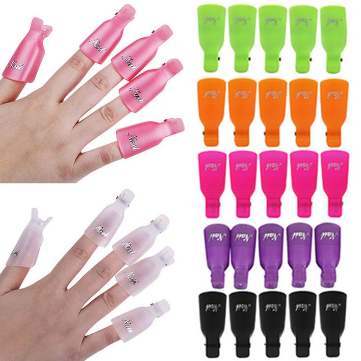 10pcs Plastic Nail Art Soak Off Clip Cap UV Gel Polish Remover Wrap Tool DIY  #Unbranded