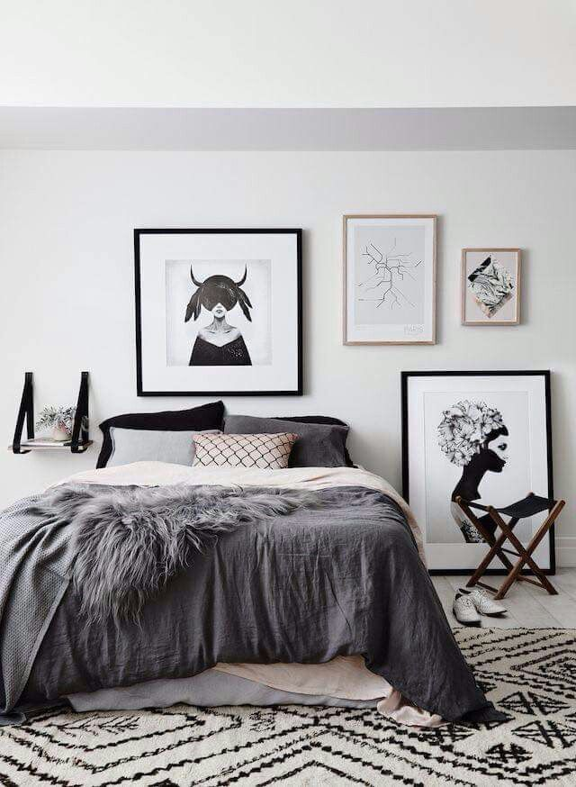 Artful! Grey scale, black and pops of mink bedroom ideas