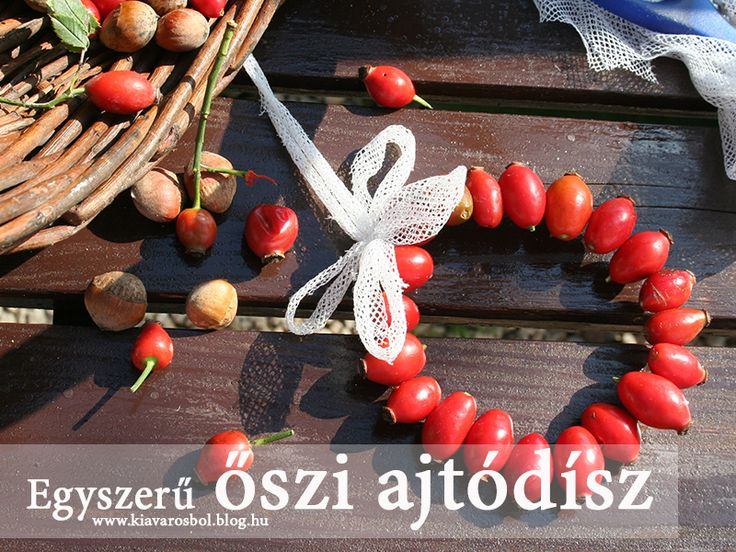 Egyszerű őszi ajtódísz csipkebogyóból