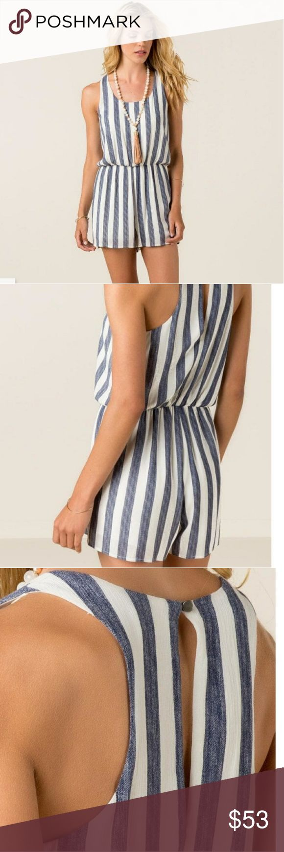 Everly by Francesca's Briley Striped Romper beautiful navy and white striped romper with button at back of neck and tear drop cut out in back dress it up with some heels or go comfy with some flats... even a pair of white cowboys boots make this beauty even more beautiful if that is possiblel. worn once absolutely no flaws whatsoever... now that I'm expecting it is Closet Clean out and Maternity clothes stock up! 34 in from shoulder to bottom of hem 19 across underarm to underarm 14 waist…