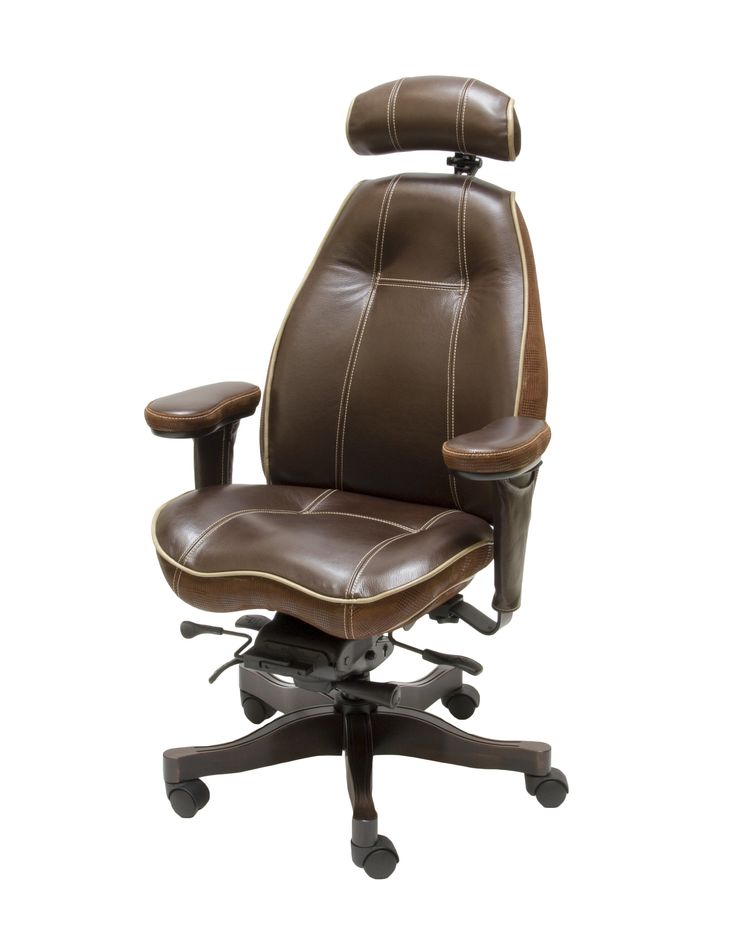 Thick Cream Contrast Stitching on 2490 Mid Back Ultimate Executive Chair in Brighton Hero Premium Leather.  Also includes Deer Run Buff Premium Leather Contrast Piping, Special Order Embossed Premium Leather Bands, Latitude Head Rest and Walnut Ultimate Wood Upgrade Package.