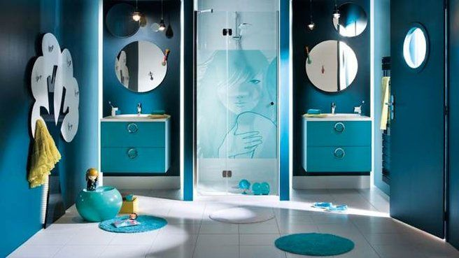 la salle de bains prend des couleurs turquoise et photos. Black Bedroom Furniture Sets. Home Design Ideas