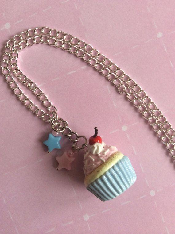 Cupcake Charm Necklace Reserved for Rebekka, Rainbow Dash Charm, Handmade Polymer Clay Charms, Sweet Kawaii Jewelry  on Etsy, $16.00