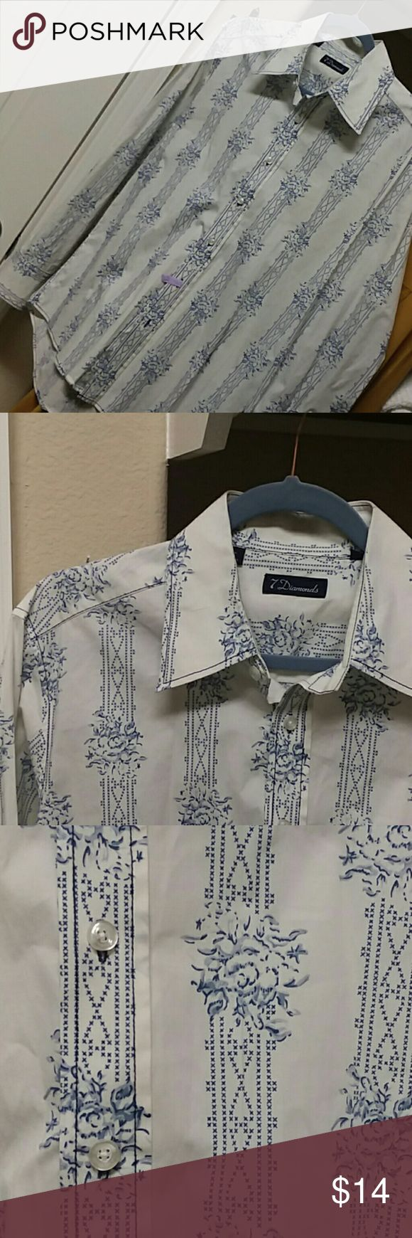 😎Men's 7 Diamonds button down 7 Diamonds line from Nordstrom Perfect condition!!!!!! Fantastic pattern Like new!!!!!! Colors in pics are true to shirt! Dry cleaned  HAVE FUN!!!!!! 7 Diamonds Shirts