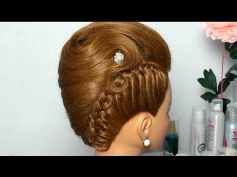 Вечерняя прическа: Ракушка с косой. French twist hairstyle for long medium hair - YouTube