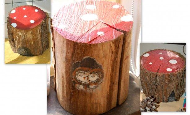 Van stukken boomstam leuke herfst zitjes maken voor de kleuters in hun herfst hoekje....