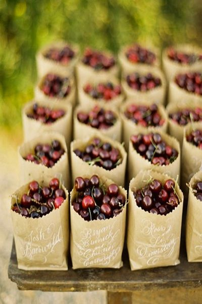 cherry wedding favors in brown bags