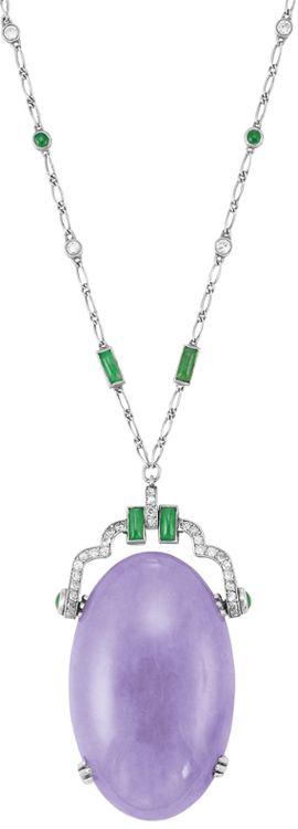 Art Deco Platinum, Lavender Jade, Jade and Diamond Pendant-Necklace. Via Doyle New York.