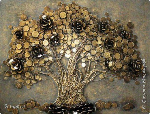 Картина панно рисунок День рождения Ассамбляж мои денежные деревца Монета фото 1
