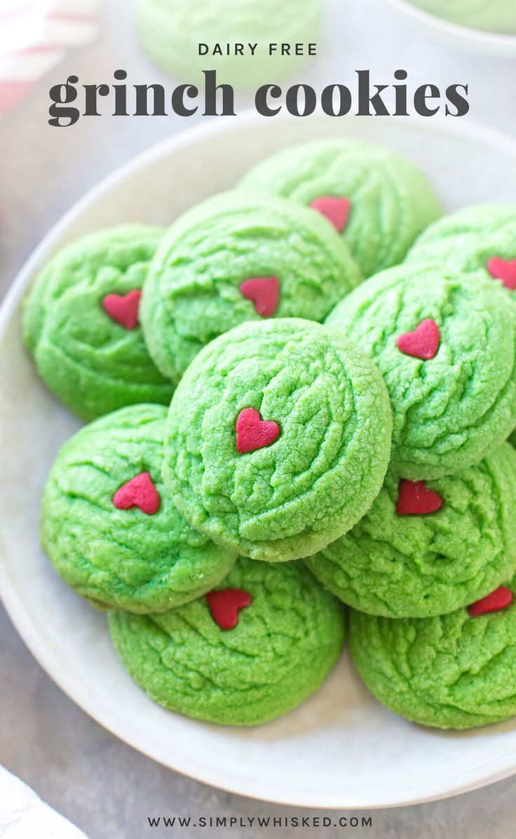 Dairy Free Grinch Cookies | dairy free Christmas cookies, Grinch cookies from scratch #dairyfree #christmascookies #cookies #Christmas #simplywhisked | @simplywhisked via @simplywhisked
