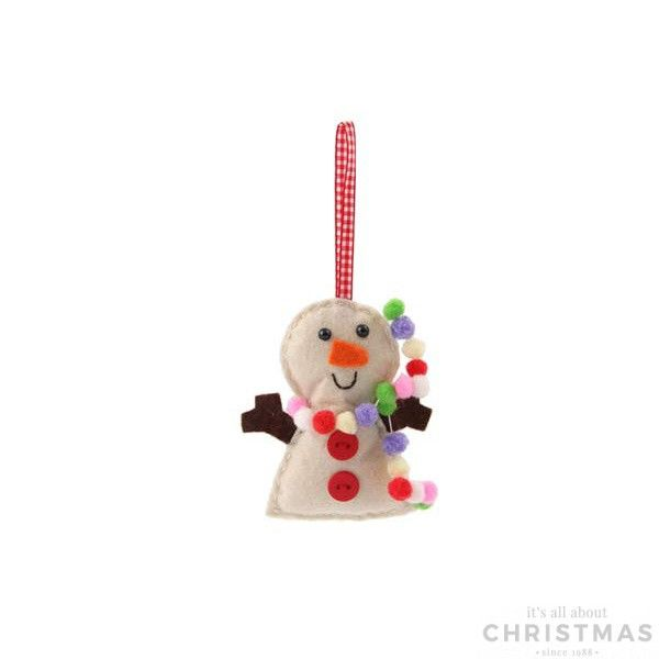 Handmade Christmas tree decoration, snowman with hanger.