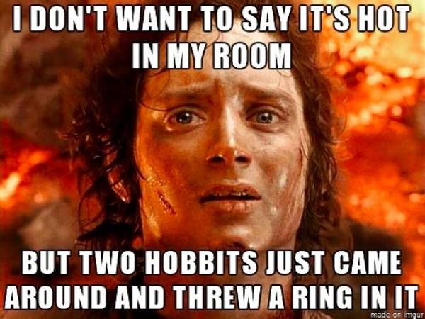 I Don T Want To Say It S Hot In My Room But Two Hobbits Just Came Around And Threw A Ring In It The Funny Funny Funny Pictures