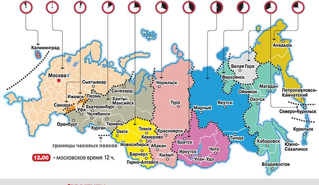 Time zones in Russia 2014 October aif.ru