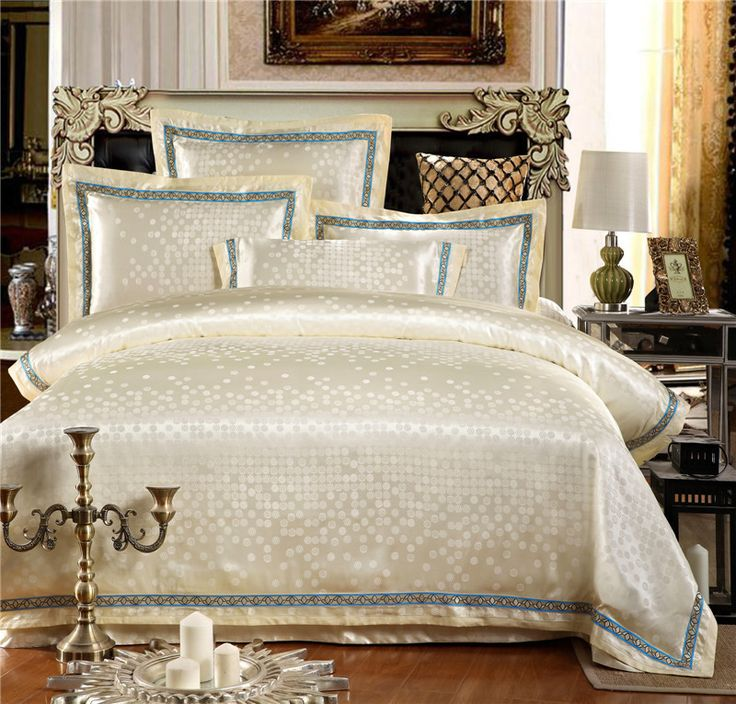 Find More Bedding Sets Information about 18 Colors Luxury Jacquard Cotton King Queen Size Bedding Set 4PCS Duvet Cover Silk Satin housse de couette ropa de cama,High Quality satin hanger,China satin guitar Suppliers, Cheap bedding from Top Quality Home Textile on Aliexpress.com