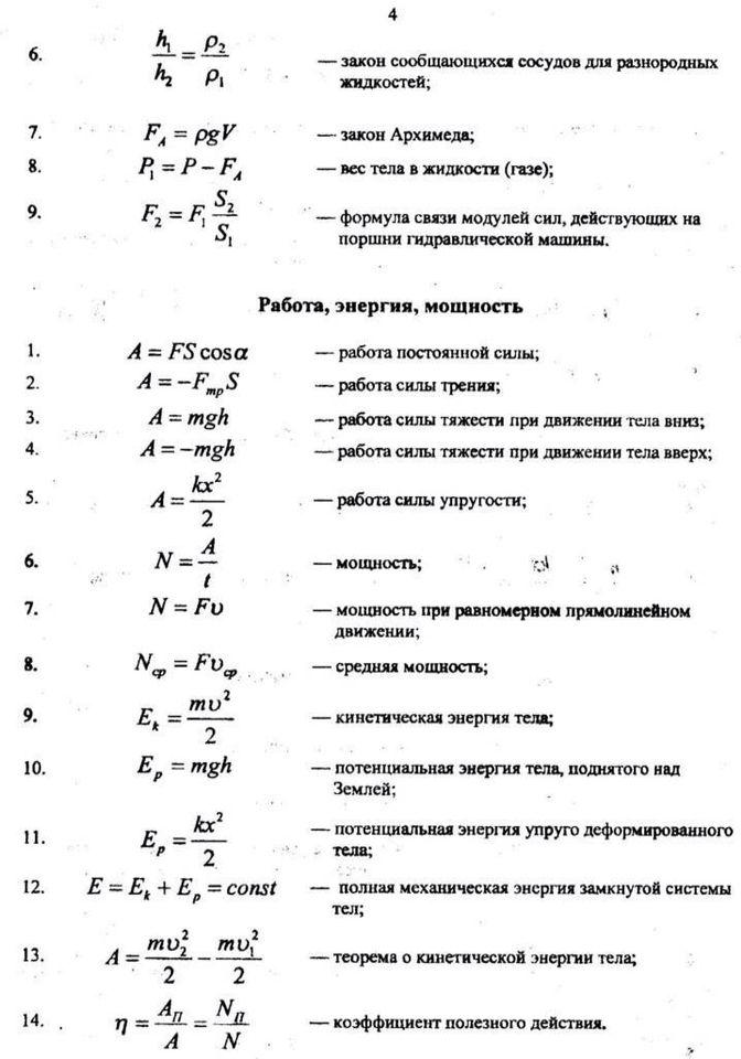 Формулы физика