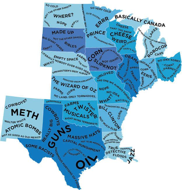The Middle Bit.   The Stereotype Map Of Every U.S. State — According To British People
