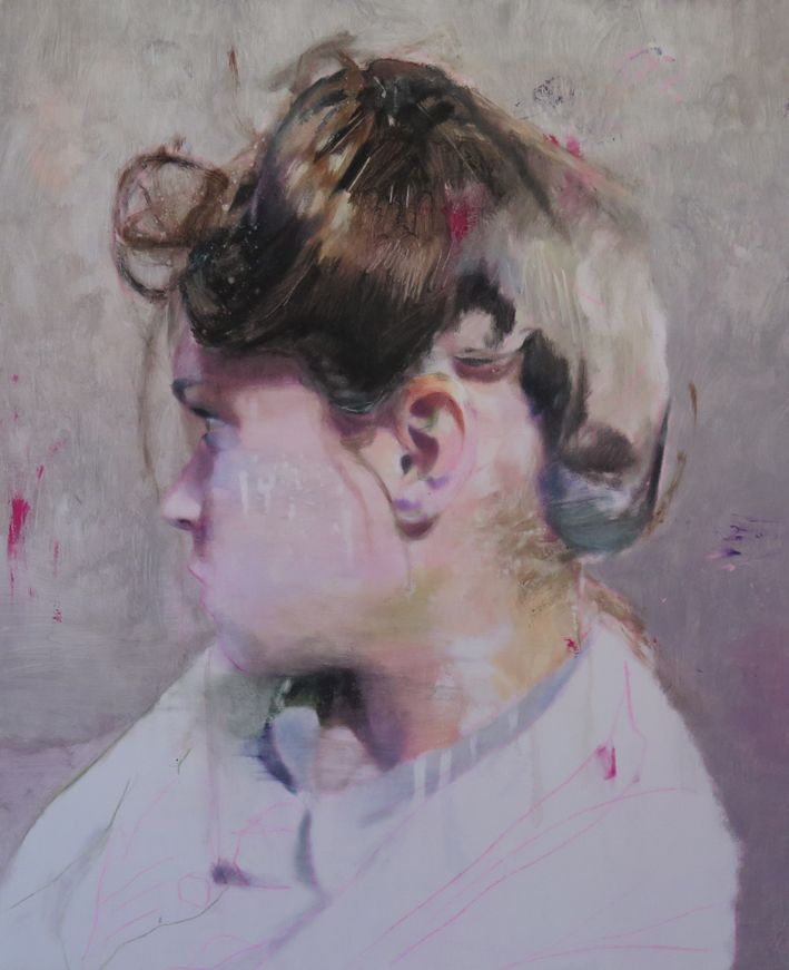 Lou Ros, French artist, JMP 2, oil on canvas, 62 x 50 cm
