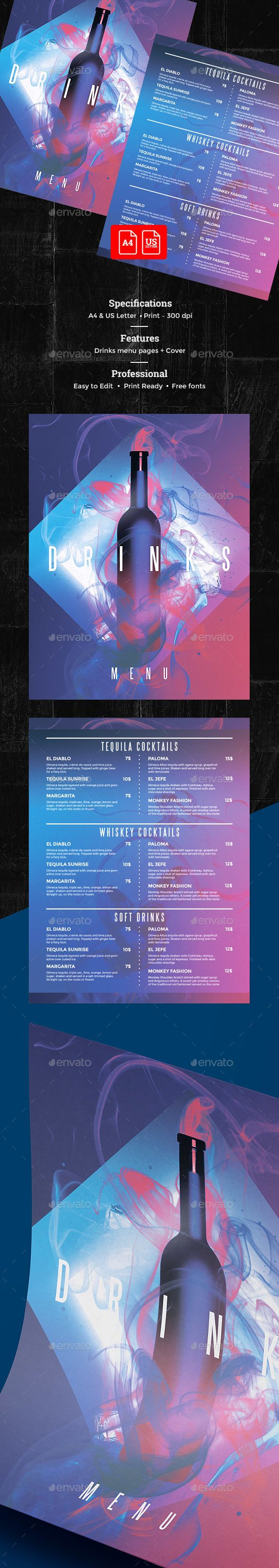 Drinks Menu — Photoshop PSD #alcohol #8.5x11 • Download ➝ https://graphicriver.net/item/drinks-menu/19856783?ref=pxcr