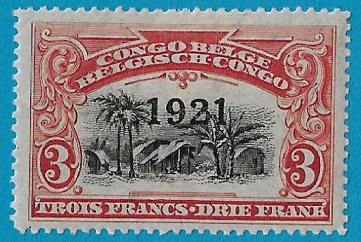 "+ 1921 Belgian Congo Native Village Overprint ""1921"" #71 A26 3Fr MH unused"