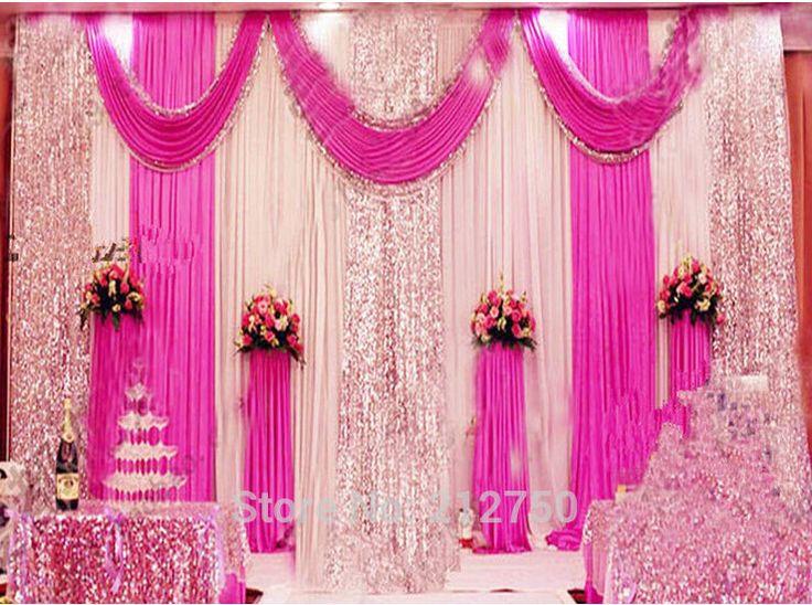 Livraison gratuite hauteur de 3m * décors 6m de large Paillettes de mariage avec des rideaux butin de mariage pour la cérémonie de mariage