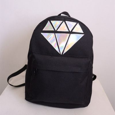 Hot-selling 2017 new fashion 5 candy colour canvas laser diamond  women's backpack men's preppy style schoolbag shoulder bag