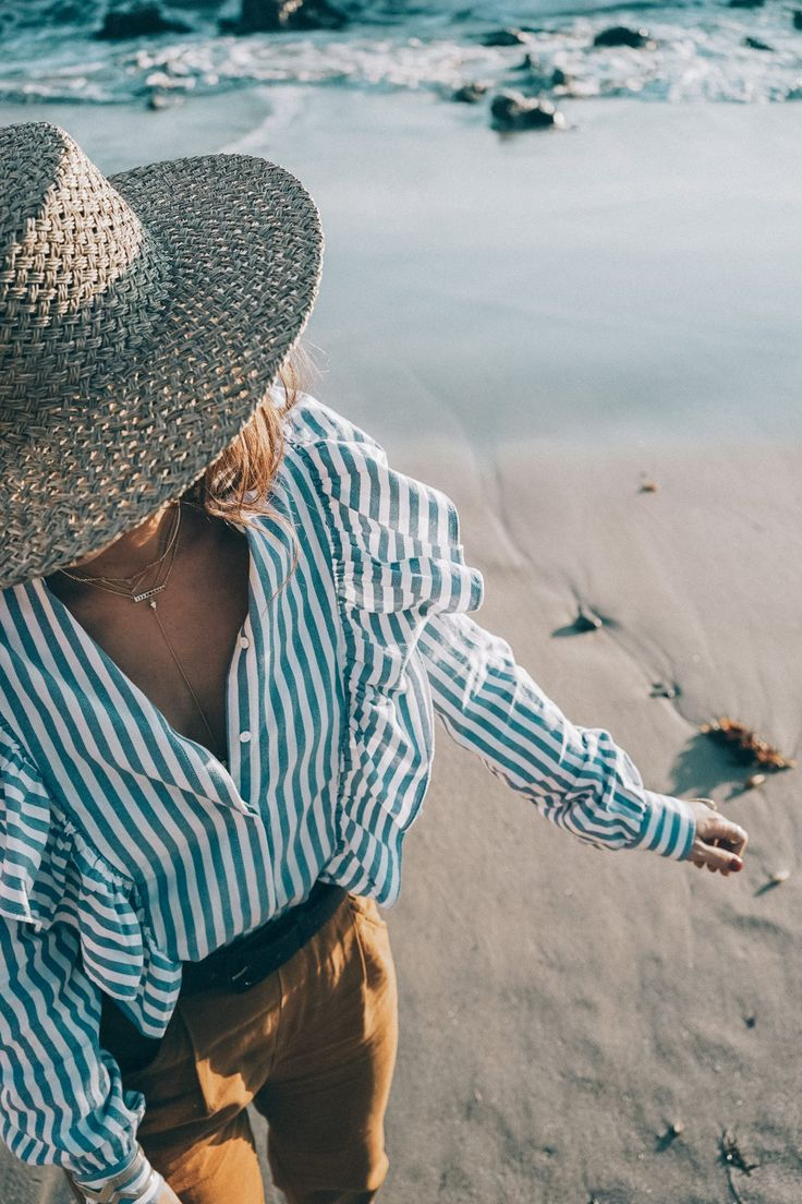 stripped_blouse-camel_trousers-lack_of_color_hat-wanderlust_jewels-matador_beach-malibu-golden_goose_sneakers-street_style-collage_vintage-174