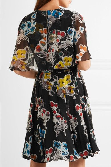 Jason Wu - Floral-print Silk-crepon Mini Dress - Black - US2