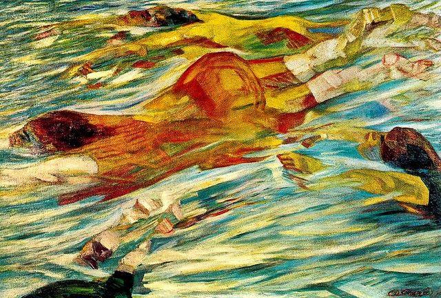 carlo carra paintings | Carra, Carlo (1881-1966) - 1910 Swimmers (Carnegie Institute ...