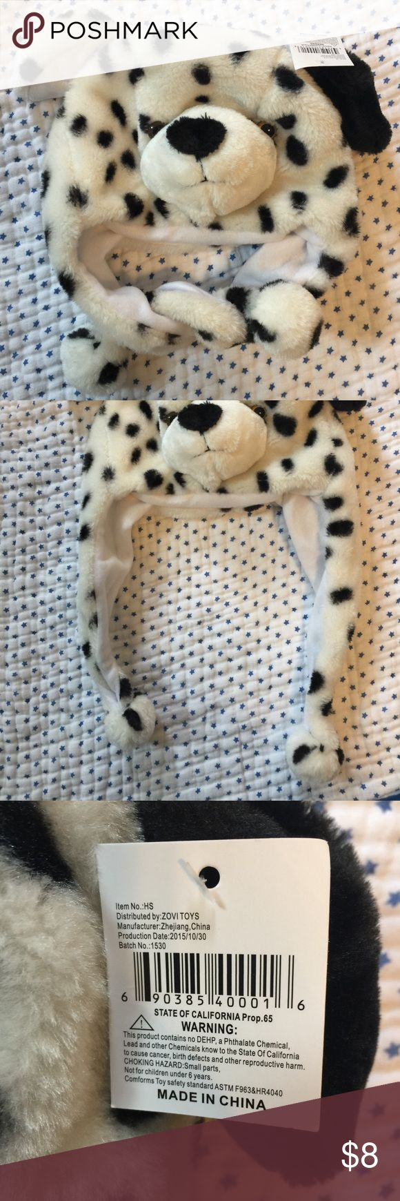 NWT NEW Dalmatian dog Costume Hat kids one sits Would be wonderful for Halloween, imaginative play, or even as a winter hat! New with tags, my son refuses to wear hats of any kind! Smoke free and pet free home. Zovi Toys Costumes Halloween