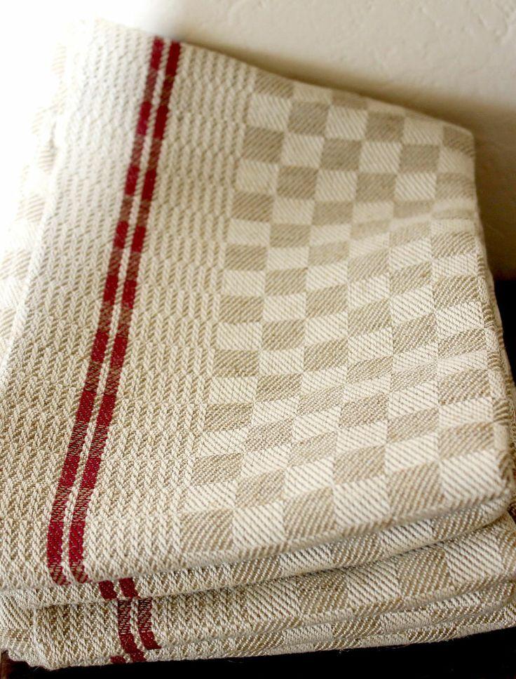 linen towels | Vintage French Linen Red Stripes Kitchen Towels Linen Towels