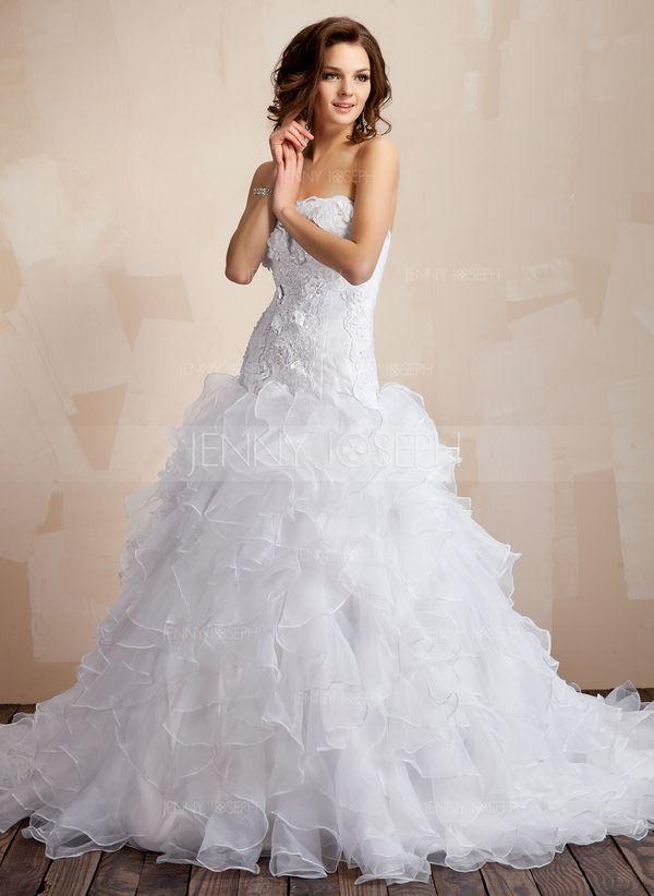 Платье для Балла В виде сердца Часовня Поезд Органза Атлас Свадебные Платье с кружева Бисер Цветы Ниспадающие оборки (002000106)