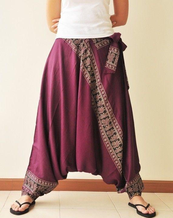 Over de hele wereld... Donker roze gedrukte Rayon Harem broek