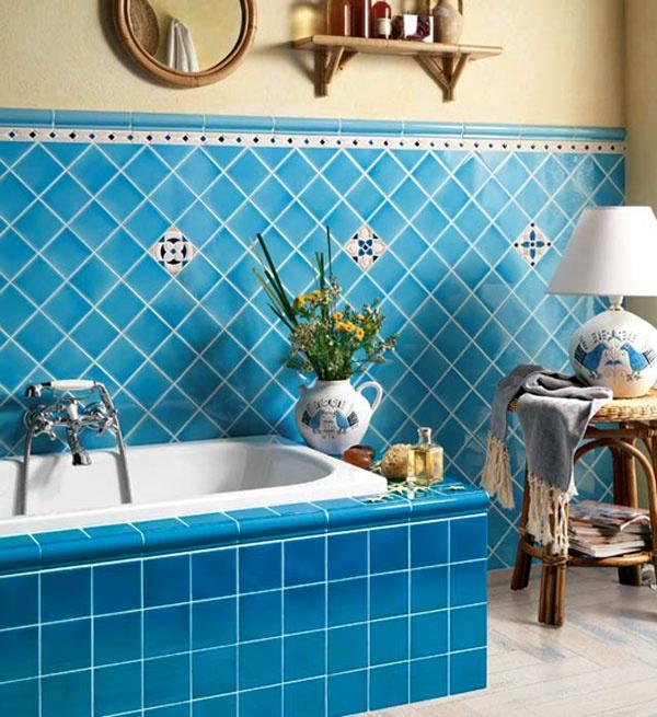 blue bath. Mediterranean style