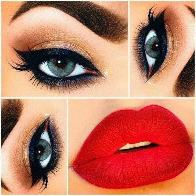 Classic nude eye color with candy apple red lipstick ❤