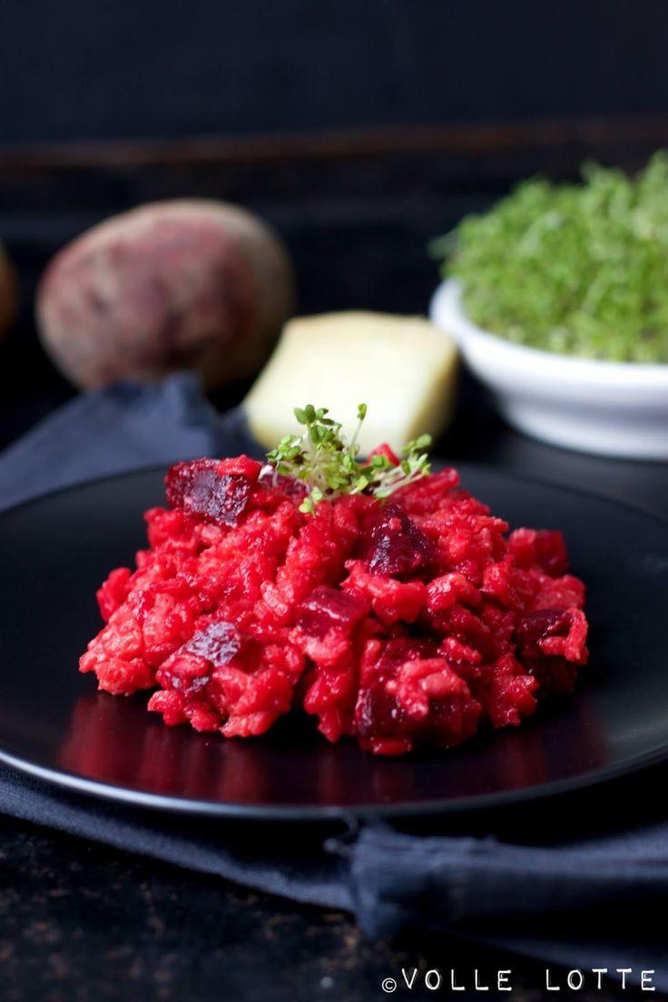 Rote Beete Risotto mit Brokkoli-Sprossen