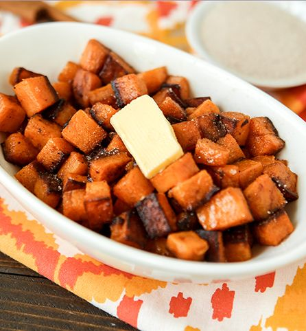 Created by: Britni Vigil, Play. Party. Plan.   Skip the traditional sweet potato casserole for Thanksgiving this year and try these cinnamon sugar diced sweet potatoes instead. They're caramelized with coconut oil, sautéed with cinnamon and salt, then topped with a little cinnamon sugar and butter for the perfect sweet side dish.
