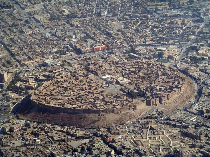 Erbil, in present-day Iraq, continuously inhabited since 1975 BC. The ancient city wall still dominates the city center. via http://pinterest.com/jackeure/
