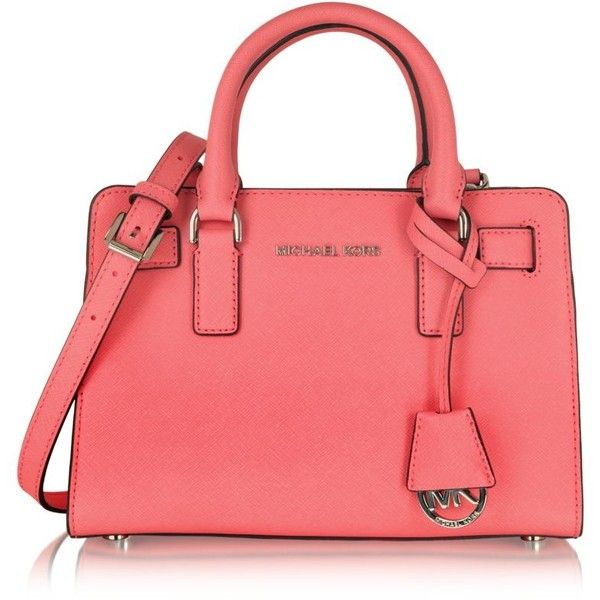 31d6bf1e9 Michael Kors Handbags Dillon TZ Small Coral Saffiano Leather Satchel ($345)  ❤ liked on Polyvore featuring bags, handbags, red purse, coral pu…
