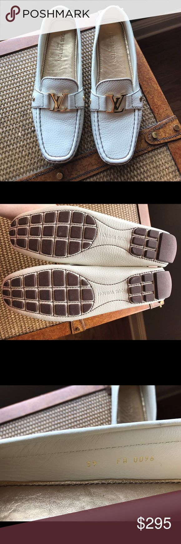 Louis Vuitton Loafers AUTHENTIC White leather LV loafers with brown stitching and gold hardware. Never worn. No box or bag. Louis Vuitton Shoes Flats & Loafers
