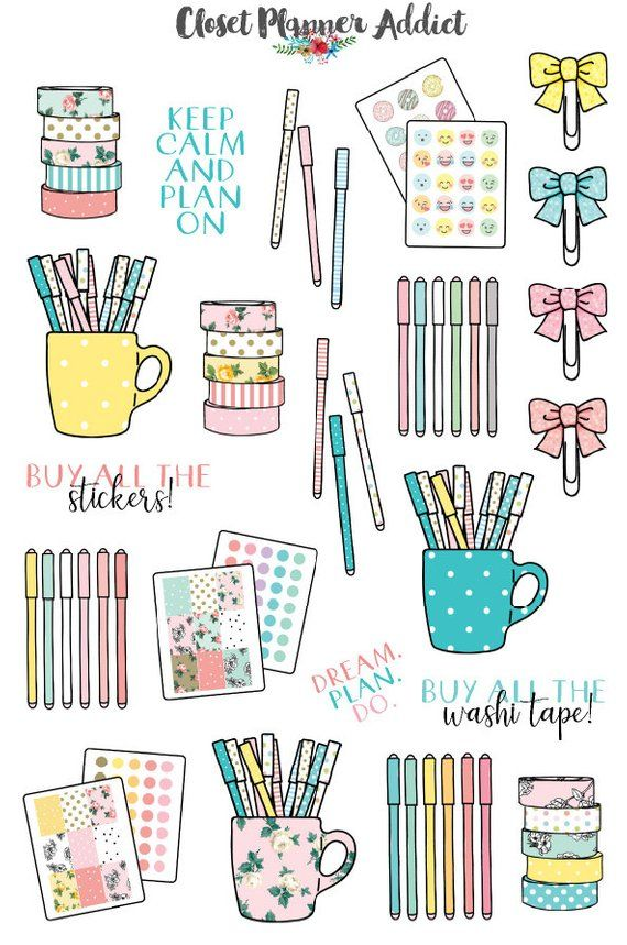 Briefpapier Planner Sticker | Addict Sticker | Washi Tape Sticker | Gel Pen Aufkleber | Planer Clips Aufkleber (S-214)