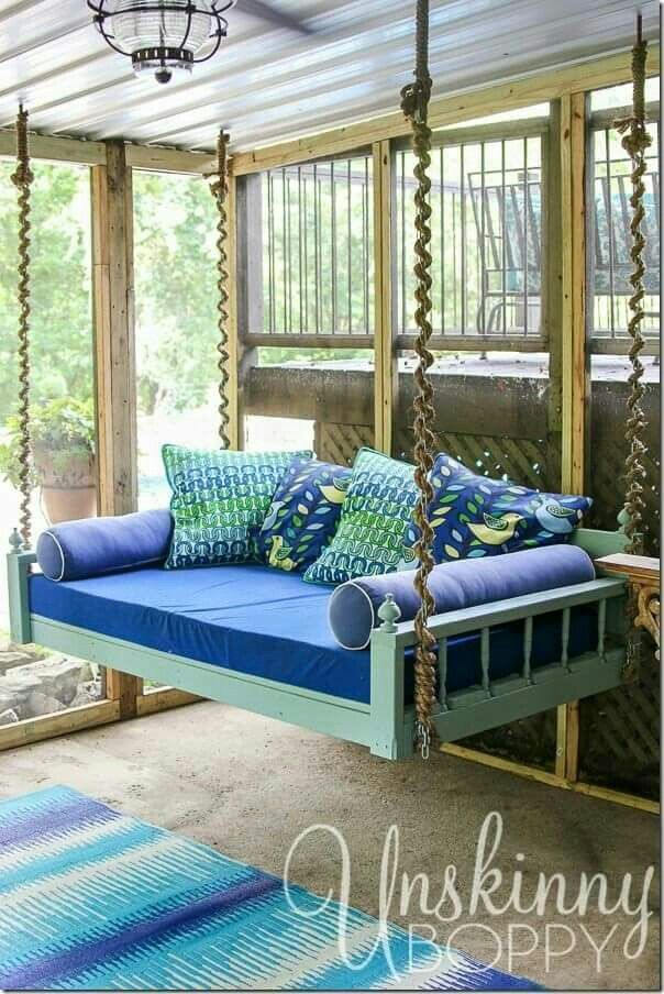Hanging bed on a sleeping porch 16